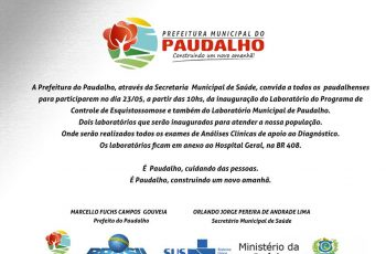 Prefeitura Convida os Paudalhense para Inauguração de 2 Laboratórios